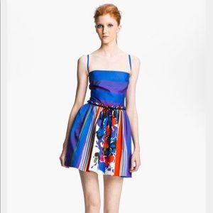 RED Valentino Multi Print Striped Floral Dress XS
